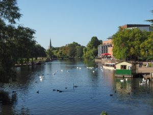 STRATFORD UPON AVON, UK - SEPTEMBER 26, 2015: River Avon in Shakespeare birth town