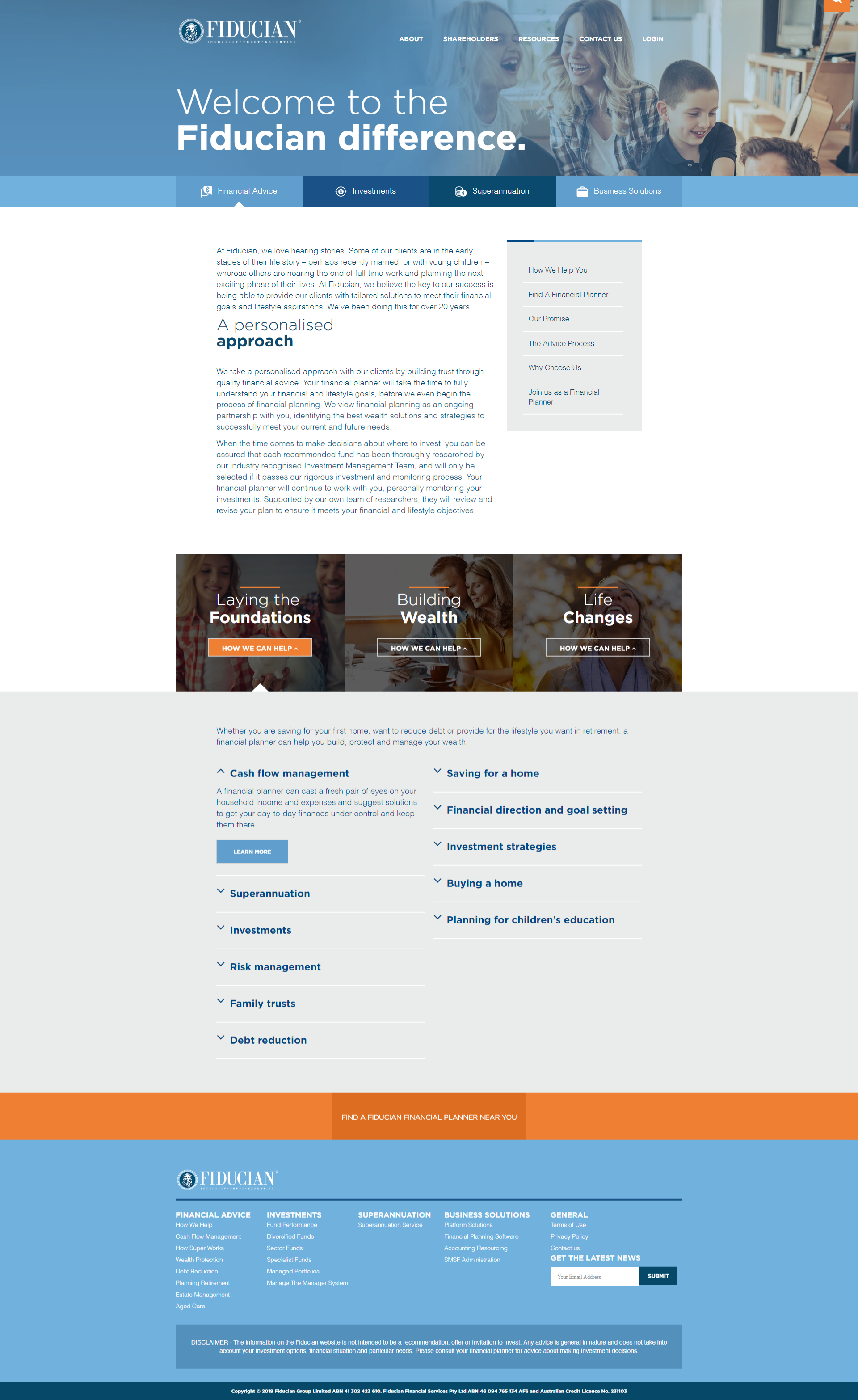 New corporate website for Fiducian Financial Group