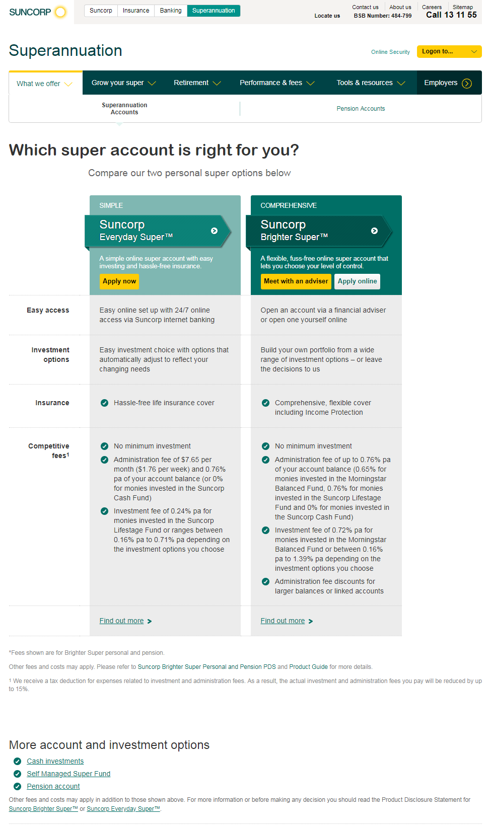 Sales pages for Suncorp Superannuation